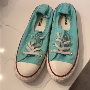 Teal converse slip on shoes